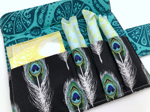 Black Tampon Case, Blue Sanitary Pad Pouch, Tampon Wallet, Women's Bag - EcoHip Custom Designs