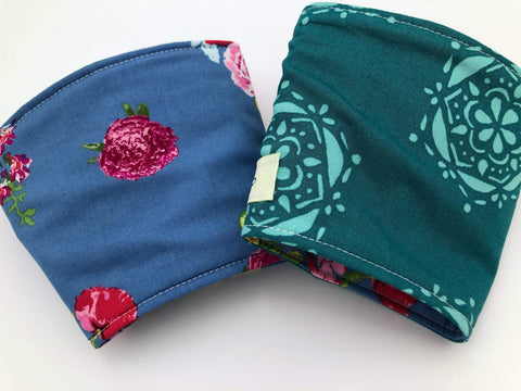 Reversible Coffee Cozy, Floral Coffee Sleeve, Insulated Teal Green Drink Cuff - EcoHip Custom Designs