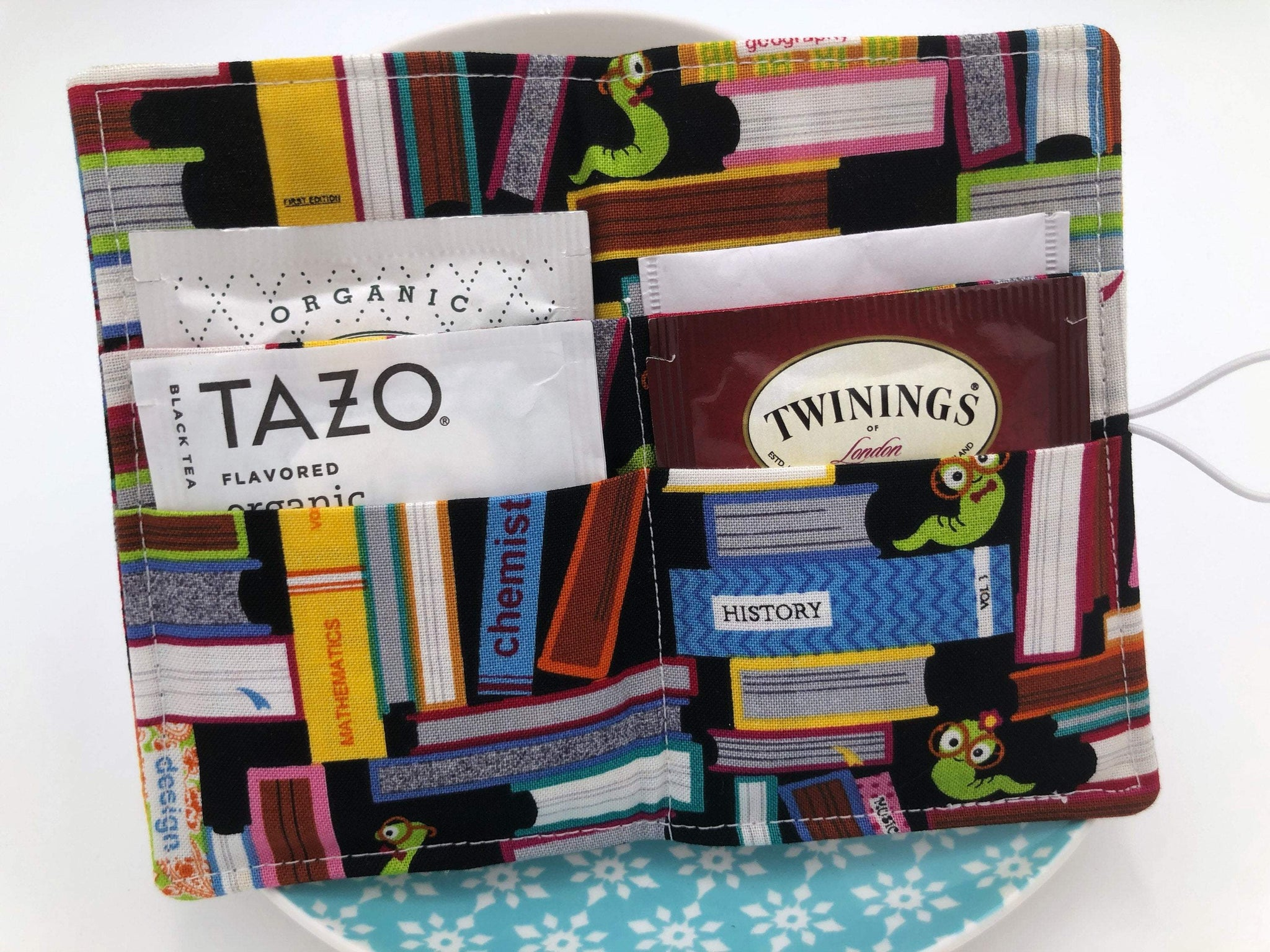 Book Worm Tea Bag Wallet, Librarian Teabag Holder, Book Reader Tea Bag Case - EcoHip Custom Designs