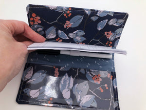 Duplicate Checkbook Cover, Blue Floral Checkbook Register, Pen Holder - EcoHip Custom Designs