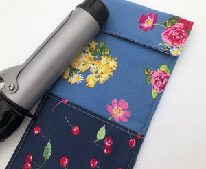 Steel Gray Curling Iron Bag, Cherry Hot Flat Iron Case, Floral Iron Cover - EcoHip Custom Designs