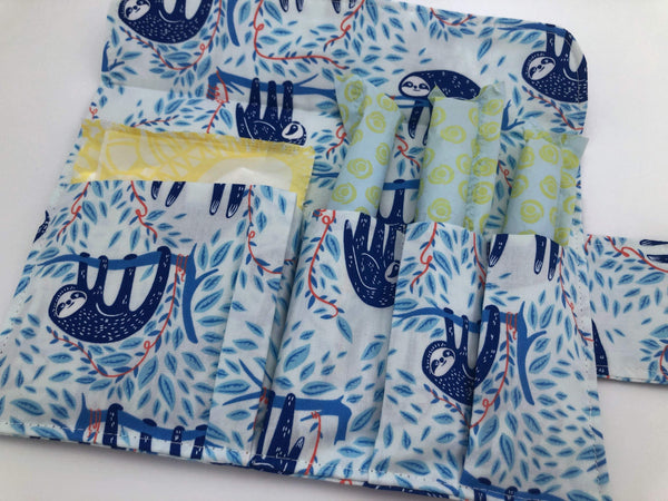 Blue Tampon Case, Sloth Sanitary Pad Pouch, Animal Tampon Cozy Holder - EcoHip Custom Designs