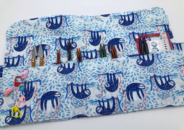 Sloth Interchangeable Knitting Needle Case, Needle Storage, Crochet Hook Roll, Blue - EcoHip Custom Designs