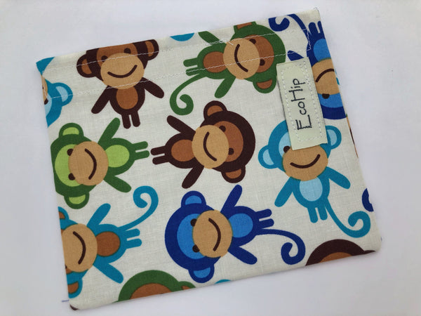 Monkey Snack Bag, Blue Eco-Friendly Snack Baggie, Reusable School Lunch - EcoHip Custom Designs