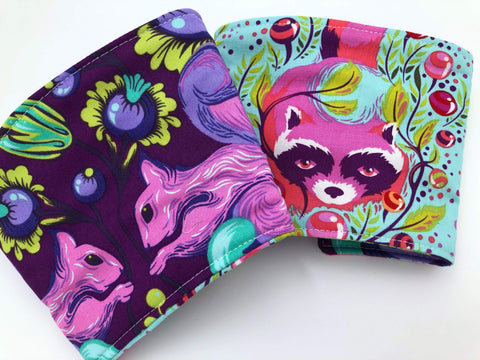 Purple Squirrel Coffee Sleeve, Reversible Coffee Cozy, Green Raccoon Cup Coozie - EcoHip Custom Designs