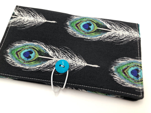 Black Check Book Register, Feather Duplicate Checkbook Cover, Pen Holder - EcoHip Custom Designs
