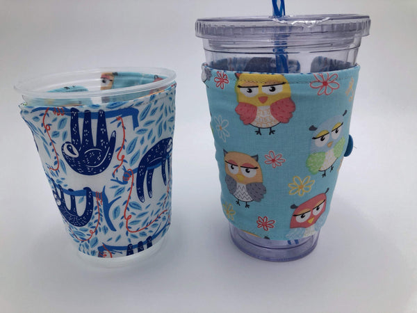 Owl Coffee Sleeve, Blue Sloth Coffee Cuff, Reversible Cold Drink Cozy - EcoHip Custom Designs