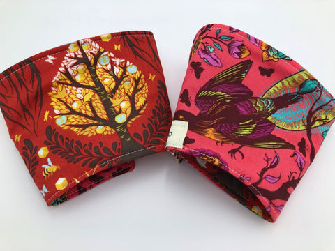 Tree of Life Coffee Sleeve, Reversible Iced Coffee Cozy, Red Cold Drink Coozie - EcoHip Custom Designs