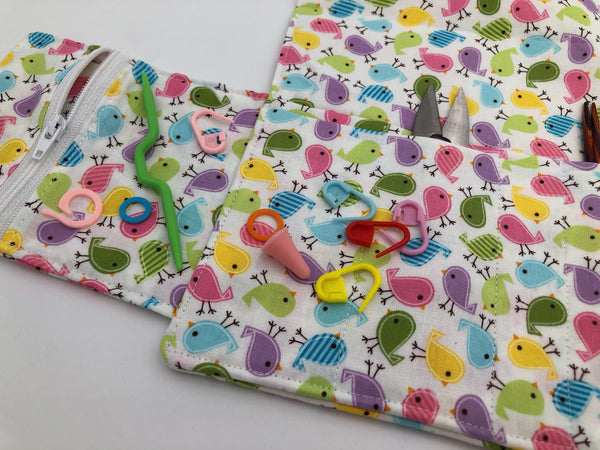 Birds Interchangeable Knitting Needle Case, Crochet Hook Roll, Needle Storage, Knitting Bag - EcoHip Custom Designs