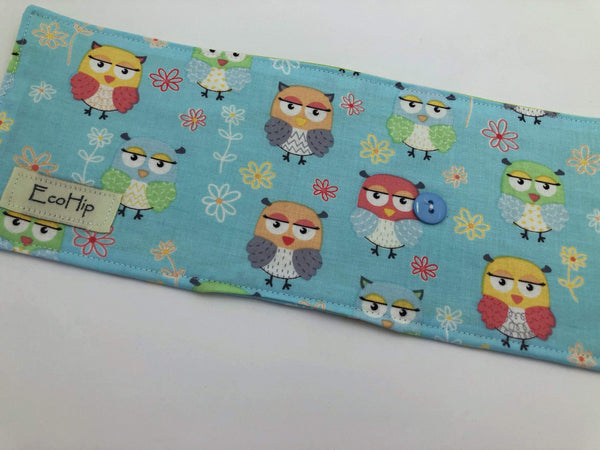 Blue Owl Crayon Roll, Bird Crayon Caddy, Travel Toy Bag for Kids - EcoHip Custom Designs