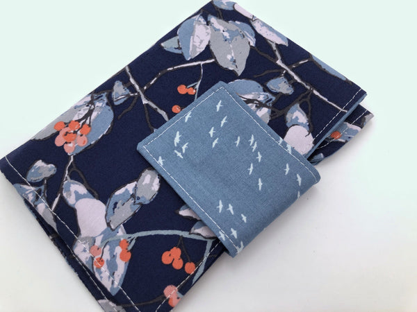 Blue Sanitary Pad Pouch, Tree Branch Tampon Wallet Case, Time of the Month Bag - EcoHip Custom Designs