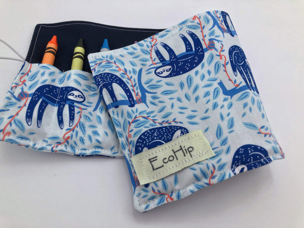 Sloths Crayon Roll, Blue Animal Crayon Caddy, Travel Toy for Kids - EcoHip Custom Designs