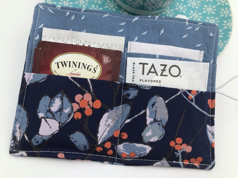 Blue Tree Tea Wallet, Teabag Holder, Teabag Cozy, Gift for Tea Drinker - EcoHip Custom Designs