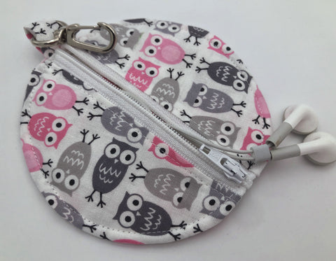 Gray Owl Headphone Case, Pink Bird Ear Pod Pouch, Small Coin Purse for Women - EcoHip Custom Designs