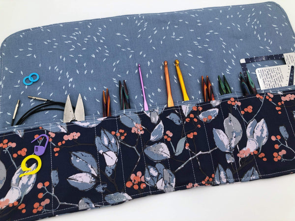 Blue Interchangeable Knitting Needle Case, Crochet Hook Holder, Knitting Notions Bag - EcoHip Custom Designs