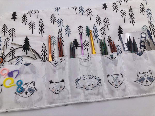 Animal Interchangeable Knitting Needle Organizer, Knitting Notions Holder, Crochet Hook Case, Fox - EcoHip Custom Designs