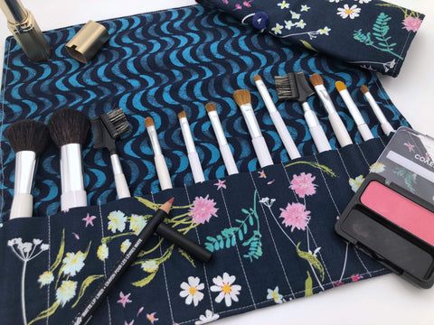 Blue Makeup Brush Roll, Floral Makeup Brush Organizer, Orchid Travel Bag - EcoHip Custom Designs