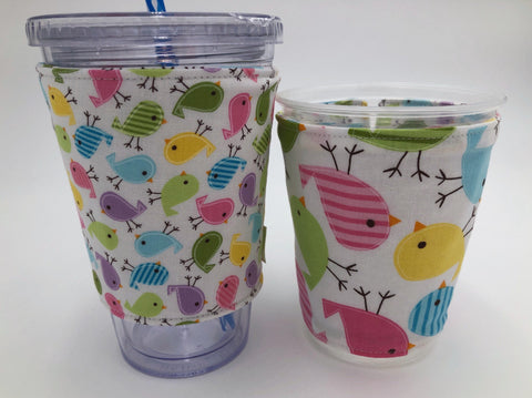 Spring Birds Coffee Cup Sleeve, Iced Coffee Cozy, Insulated Hot Drink Cozy, Pink, Green - EcoHip Custom Designs
