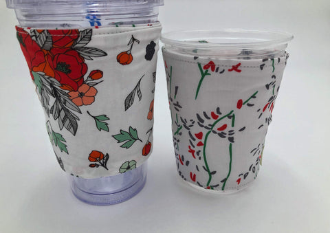 Red Floral Coffee Cozy, Reversible Iced Coffee Sleeve, Insulated Hot Drink Cozy - EcoHip Custom Designs