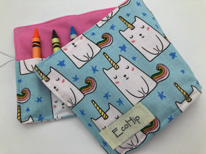 Caticorn Crayon Roll. Unicorn Crayon Bag, Travel Kitty Cat Crayon Toy for Toddlers - EcoHip Custom Designs