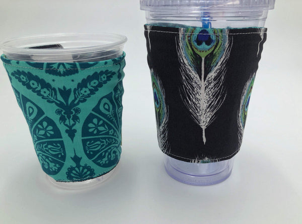 Black Feather Coffee Cozy, Teal Iced Coffee Drink Sleeve, Hot Tea Sleeve - EcoHip Custom Designs
