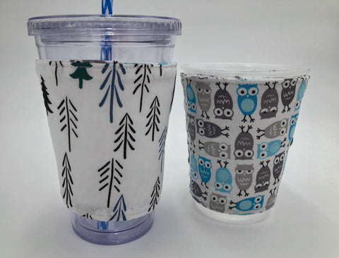 Blue Owl Iced Coffee Cozy, Gray Bird Coffee Sleeve, Nature Tree Hot Drink Cozy - EcoHip Custom Designs