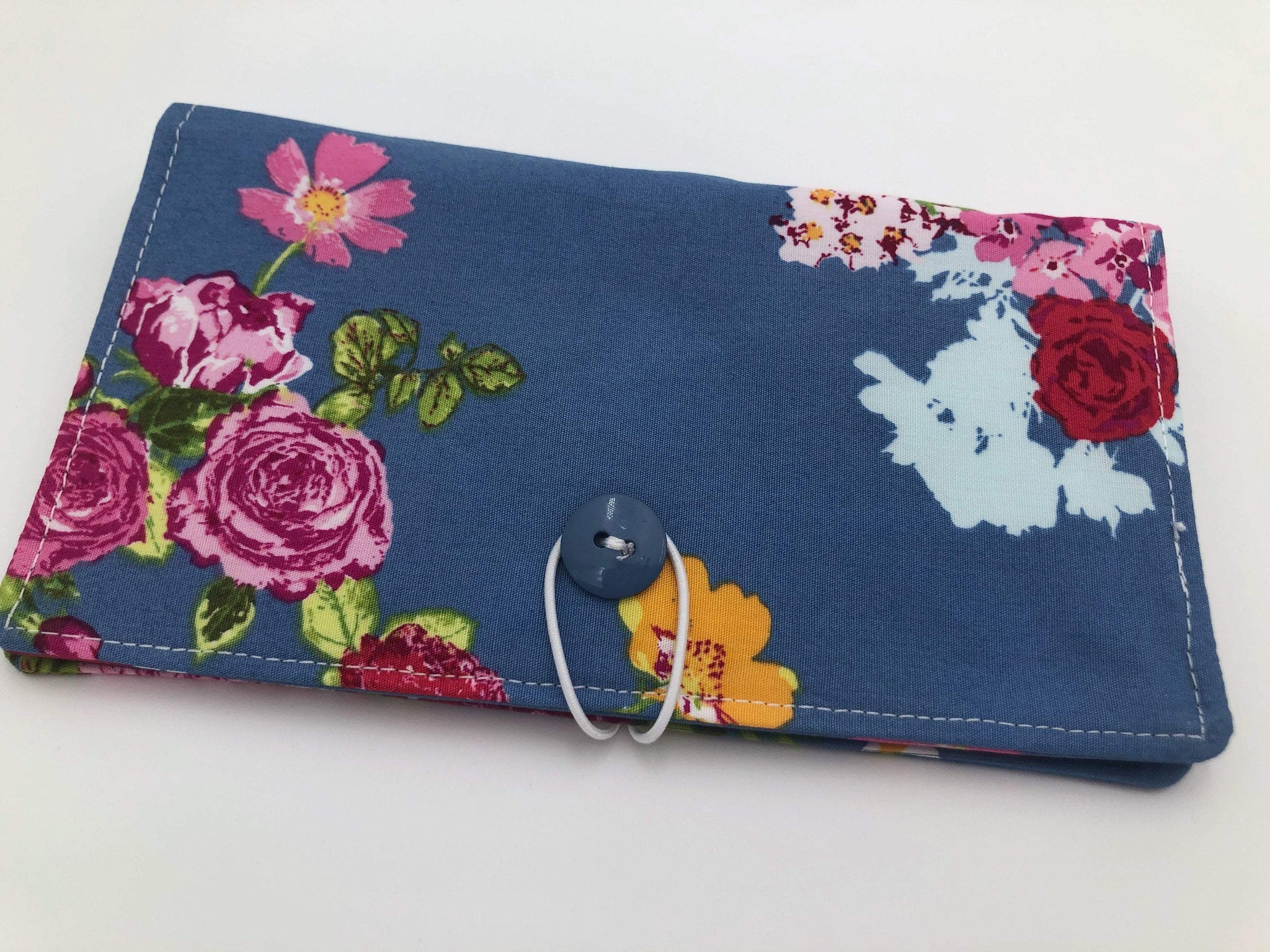 Steel Gray Checkbook Cover, Pen Holder, Duplicate Checkbook Wallet, Cherries, Floral - EcoHip Custom Designs