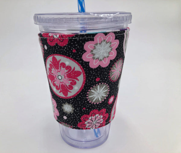 Shimmer Polka Dot Coffee Sleeve, Reversible Coffee Cup Cozy, Iced Coffee Cuff, Floral - EcoHip Custom Designs