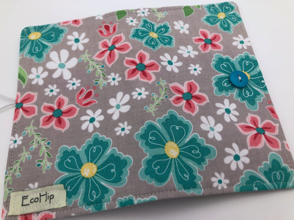 Gray Floral Checkbook Cover, Teal Duplicate Check Book Wallet, Pen Holder, Vinyl Flap - EcoHip Custom Designs