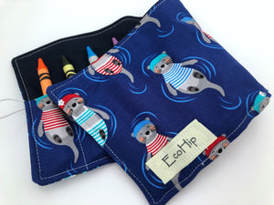 Sea Otter Crayon Roll, Travel Crayon Case Toy, Blue Crayon Holder - EcoHip Custom Designs