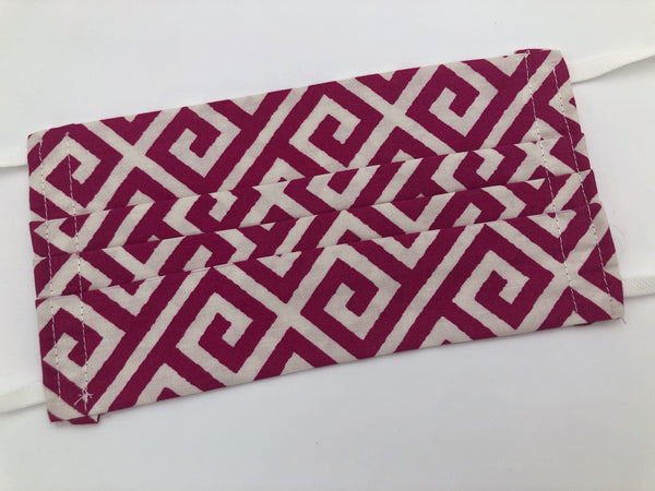 Red Cloth Face Mask, Reusable Cotton Face Mask, Women's Face Cover, Geometric - EcoHip Custom Designs