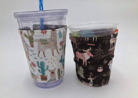 Llama Iced Coffee Cozy, Brown Deer Coffee Sleeve, Owl Hot Drink Cozy, Insulated - EcoHip Custom Designs