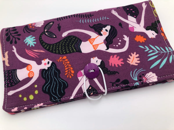 Mermaid Checkbook Cover, Orchid Purple Duplicate Checkbook Register, Pen Holder - EcoHip Custom Designs