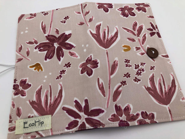 Magenta Red Checkbook Cover, Duplicate Check Book Register, Pen Holder, Floral - EcoHip Custom Designs