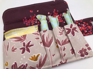 Beige Tampon Wallet, Time of the Month Bag, Dark Sanitary Pad Holder Pouch, Foliage - EcoHip Custom Designs