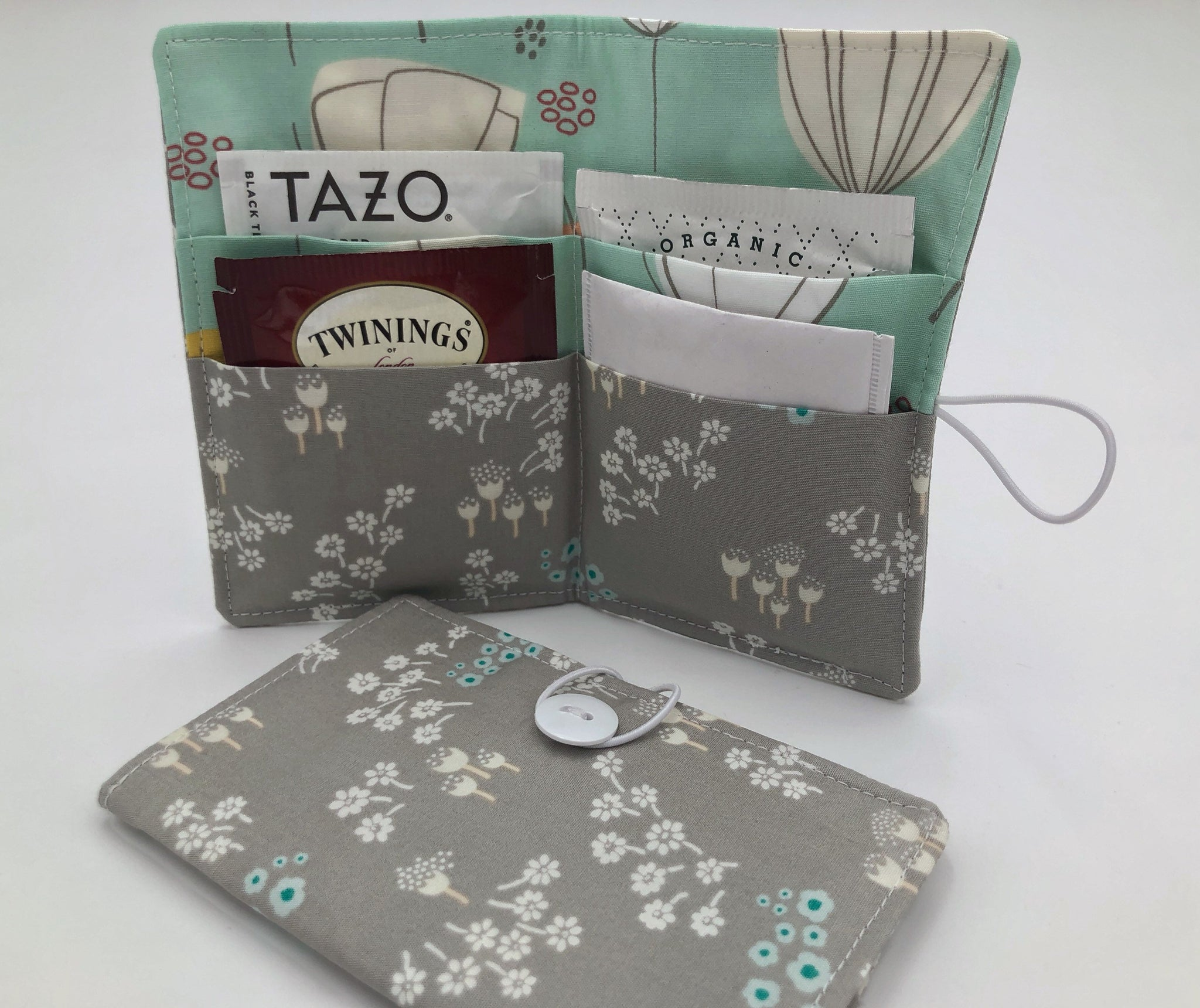 Gray Teabag Wallet, Light Green Floral Tea Bag Organizer, Travel Tea Bag Holder - EcoHip Custom Designs