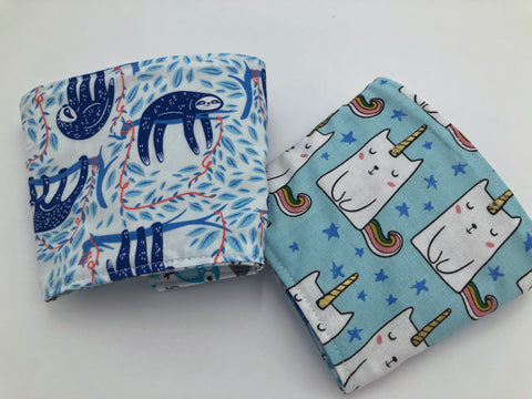 Blue Sloth Iced Coffee Cozy, Caticorn, Reversible Coffee Cozy, Reusable Drink Sleeve - EcoHip Custom Designs