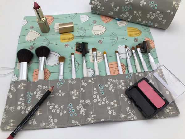 Gray Make Up Brush Case, Green Floral Makeup Brush Bag, Cosmetic Holder - EcoHip Custom Designs