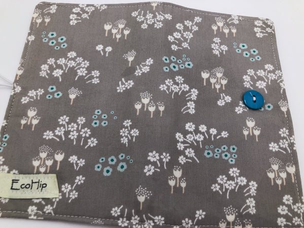 Gray Duplicate Checkbook Cover, Green Women's Check Book Register, Vinyl Flap - EcoHip Custom Designs