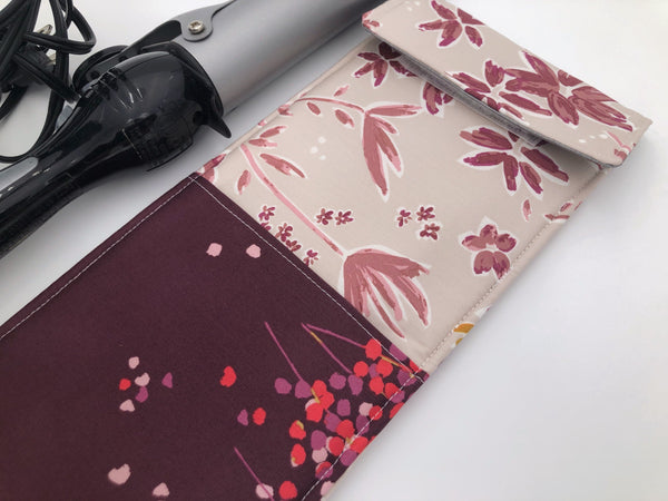 Dark Beige Curling Iron Case, Burgundy Flat Iron Holder, Travel Curling Wand Bag - EcoHip Custom Designs