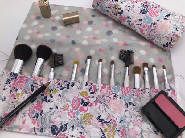 Pink Floral Paintbrush Roll, Travel Make Up Brush Case, Gray Polka Dot Brush Holder - EcoHip Custom Designs