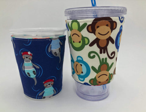 Otter Insulated Coffee Cozy, Animals, Monkey Reversible Iced Coffee Sleeve, Hot Tea Sleeve - EcoHip Custom Designs
