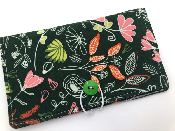 Forest Green Duplicate Checkbook Cover, Floral Check Book Register, Pen Holder - EcoHip Custom Designs