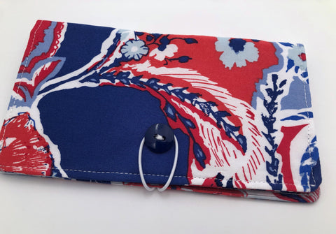 Blue Checkbook Cover, Red Duplicate Check Book Wallet, Checkbook Case - EcoHip Custom Designs
