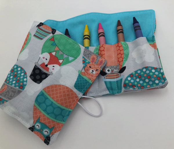 Balloon Crayon Roll Up, Owl Crayon Caddy, Blue Crayon Case, Foxes, Stocking Stuffer - EcoHip Custom Designs