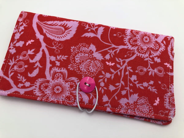 Pink Butterfly Checkbook Cover, Floral Duplicate Checkbook Holder, Check Book Wallet - EcoHip Custom Designs