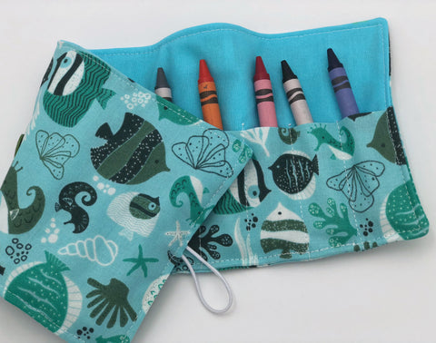 Fishes Crayon Roll Up, Teal Ocean Crayon Wallet, Toddler Travel Toy, Crayons Included Case - EcoHip Custom Designs