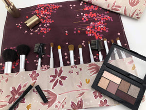 Red Foliage Brush Roll, Magenta Travel Makeup Brush Case, Cosmetic Brush Bag - EcoHip Custom Designs