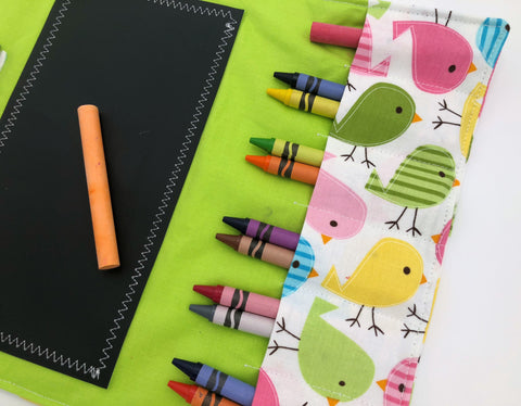 Pink Birds Chalk Board Roll Up, Chalkboard Mat, Travel Crayon Wallet, Green Crayon Case - EcoHip Custom Designs