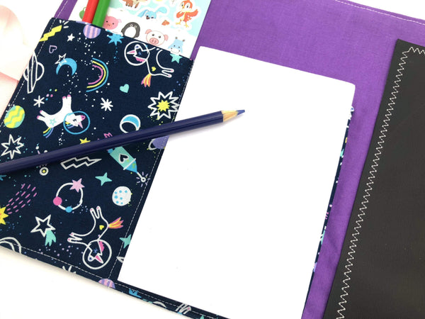 Creative Crayon Wallet, Unicorns, Outer Space Chalk Board Roll Up, Purple Crafts for Toddlers - EcoHip Custom Designs